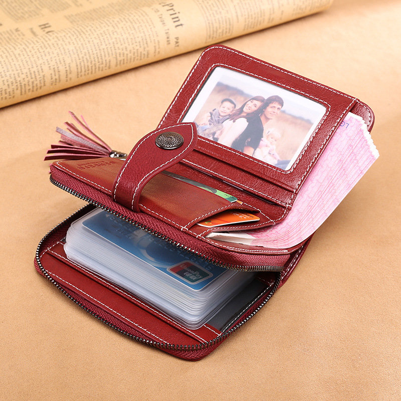 Retro Genuine Leather Multi-slots 24 Card Slots Short Wallet Card Holder Purse (SKU987533) photo