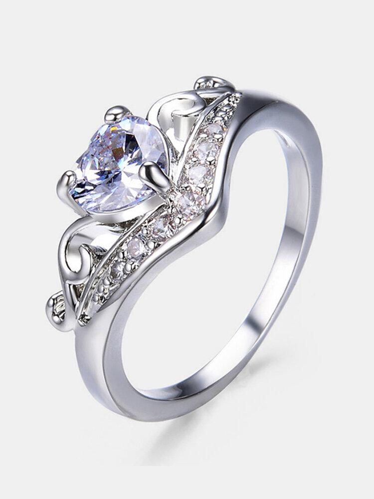 Vintage Geometric Peach Heart Crown Rings Hollow Gem Rhinestone Rings Chic Jewelry