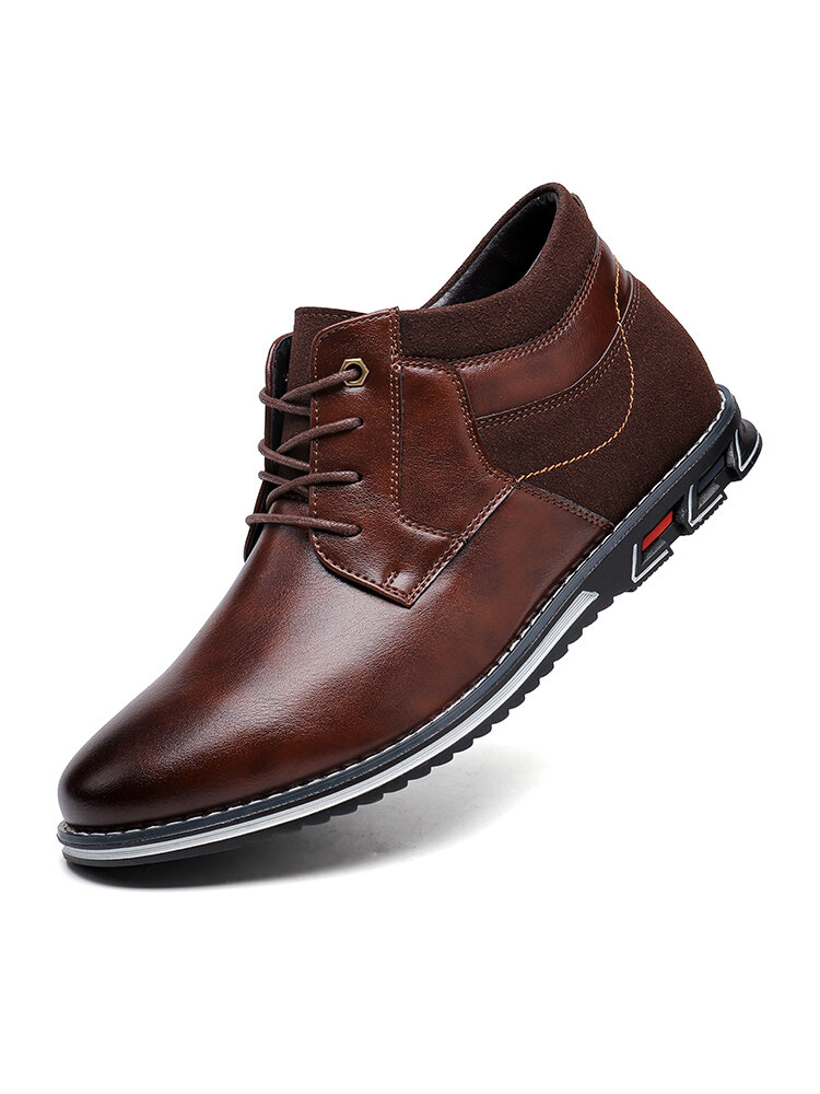 Men Retro Stitching Leather Comfy Non Slip Soft Business Casual Ankle Boots
