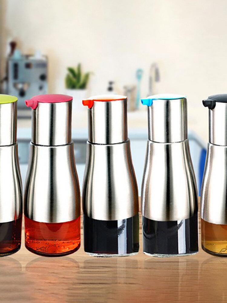ステンレス鋼と鉛フリーのガラス製オイルディスペンサーソースディスペンサー300 ml防漏型オイルボトル