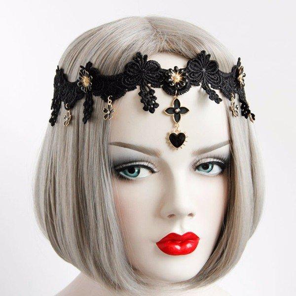 Europe Retro Headband Black Lace Cheveux élastique fleur coeur bandeau bijoux bijoux