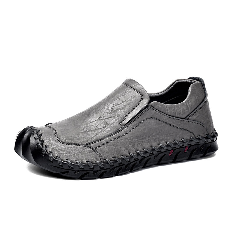 Men Leather Hand Stitching Anti-collision Slip Resistant Casual Shoes