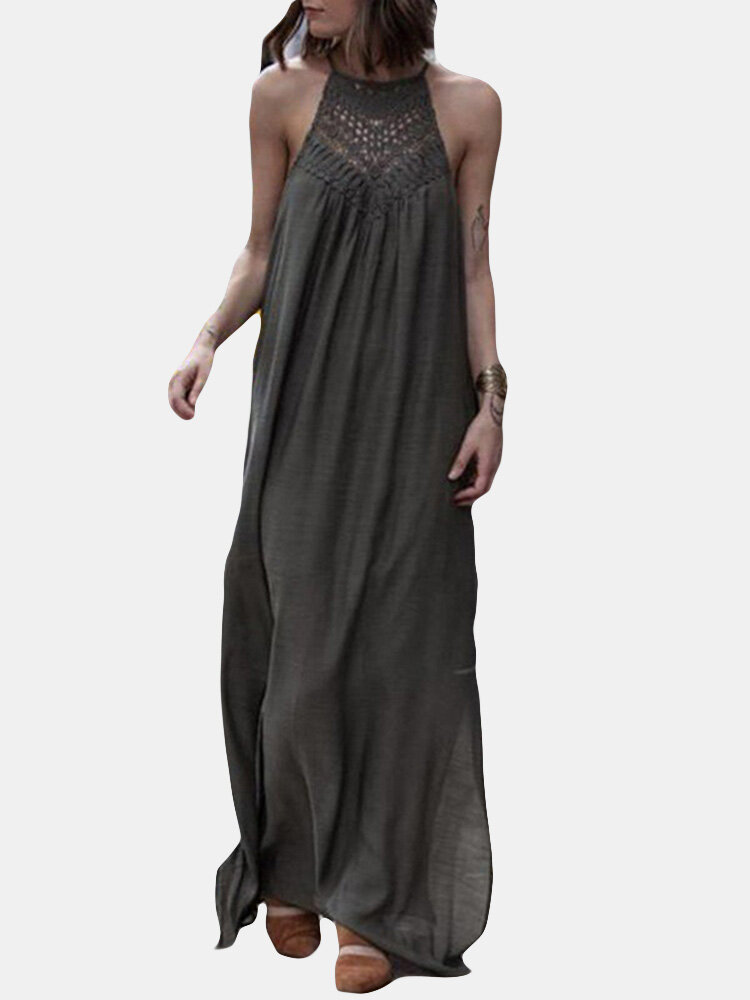 Lace Patchwork Hollow Solid Color Maxi Dress For Women