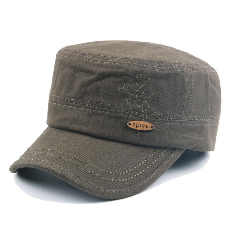 Mens Cotton Embroidered Flat Top Hat Army Cadet Hat Outdoor Visor Snapback Baseball Cap