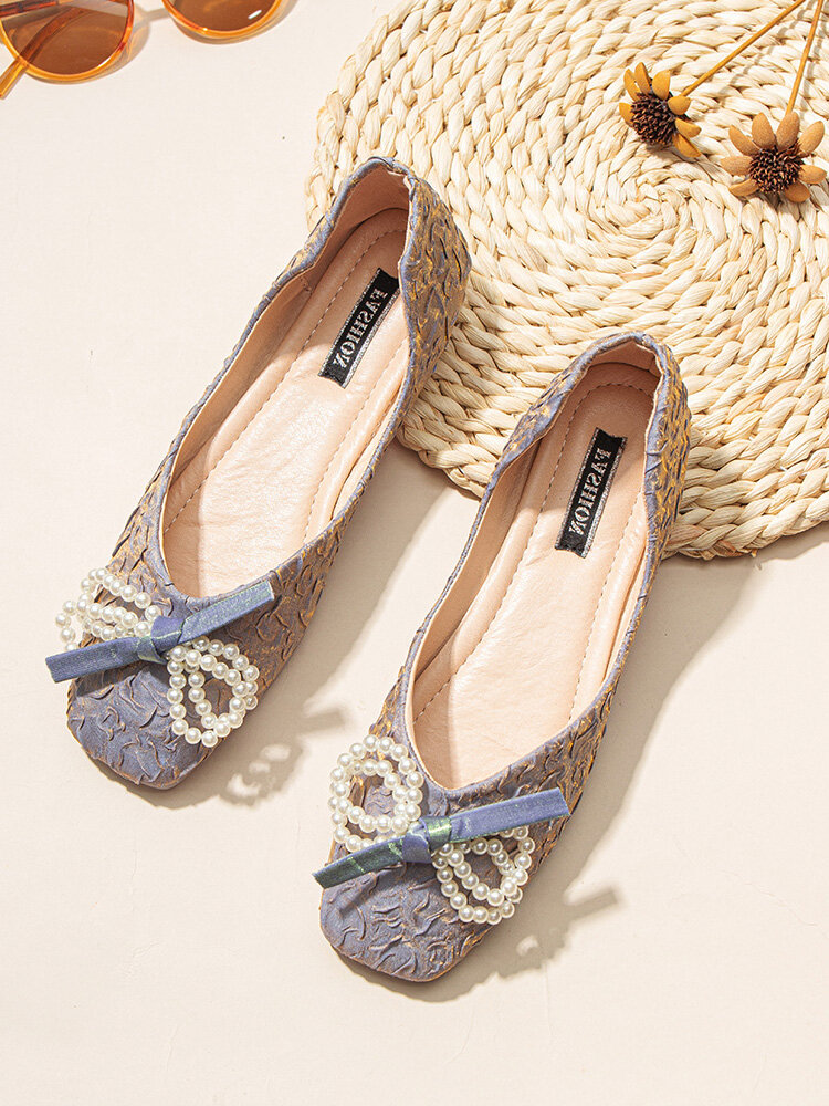 Women Casual Sweet Pearl Bow Square Toe Ballet Flats