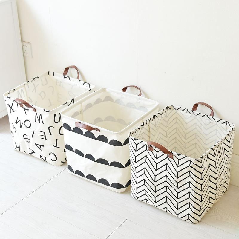 Простой стиль Водонепроницаемы льняные портативные корзины для хранения домашней одежды игрушка Ванная комната Органайзер