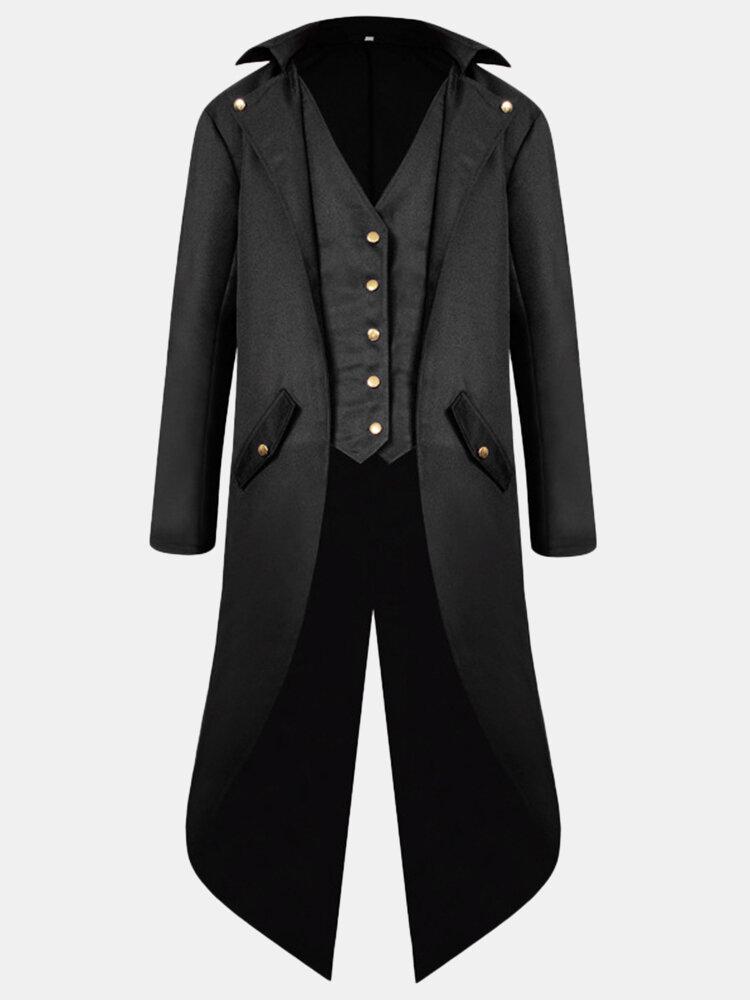 メンズミッドロングスタイルヴィンテージタキシードコスプレバンケットウェディングファッションブレザー