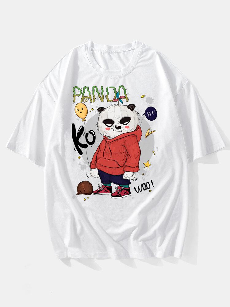 100% Cotton Mens Cartoon Panda Print Oversized Short Sleeve T-Shirt