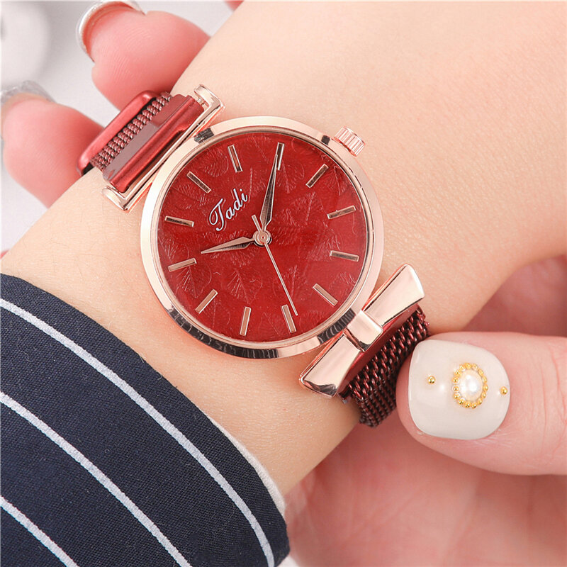 Fashion Elegant Women Watches Alloy Mesh Band No Number Dial Rose Gold Alloy Case Quartz Watch
