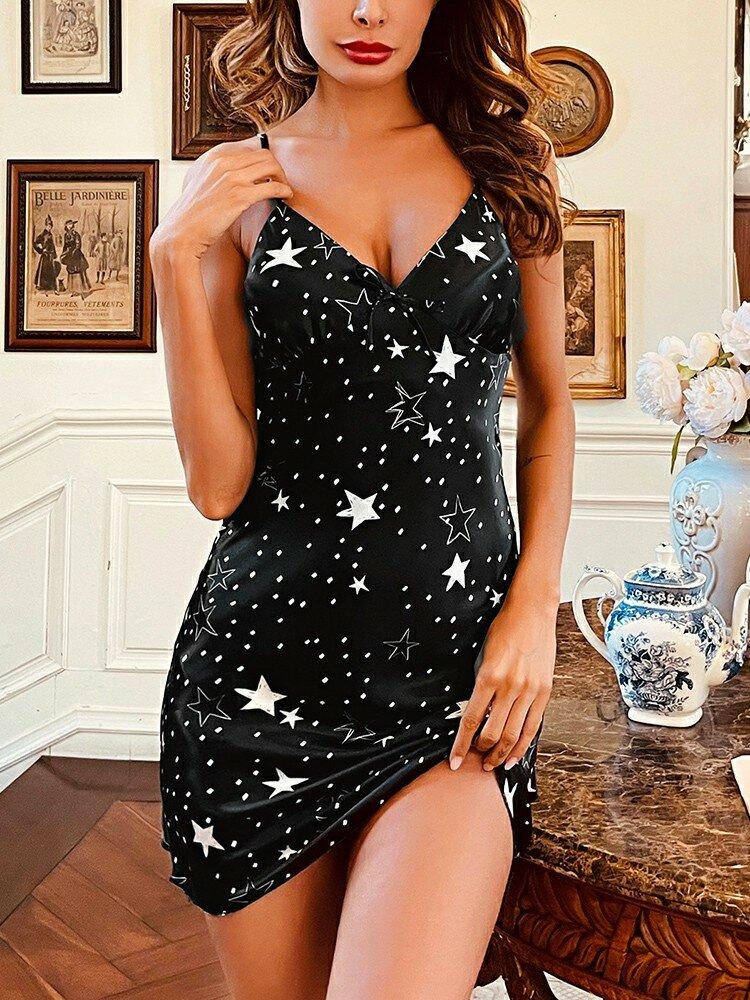 Herren All Over Star Muster Faux Silk V-Ausschnitt Ärmelloses Nachthemd