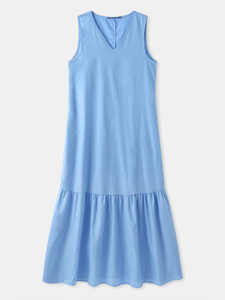 Solid Sleeveless V-neck Plus Size Ruffle Long Dress