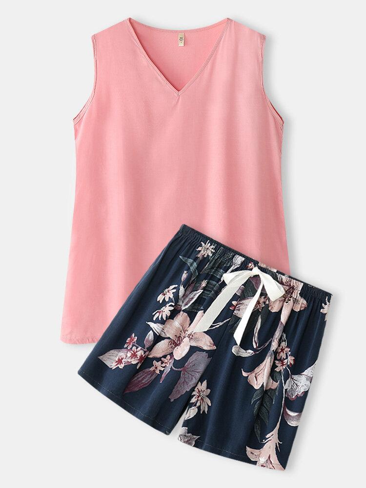 Women V-Neck Pink Tank Top & Floral Print Shorts Cotton Home Pajama Sets