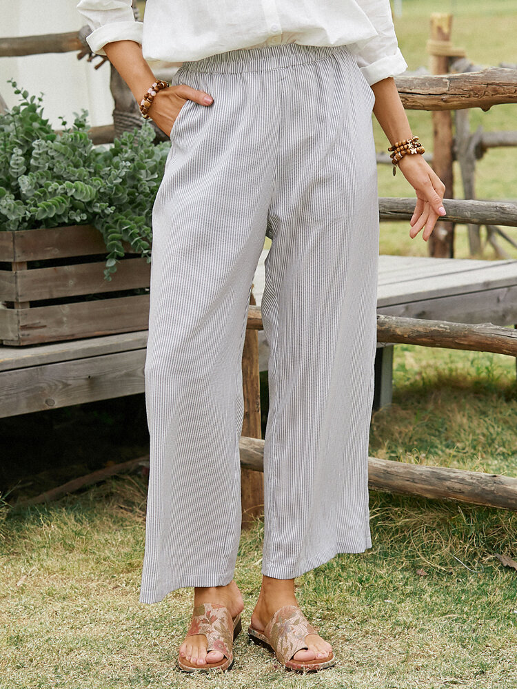 Striped Print Pocket Loose Wide Leg Casual Pants For Women