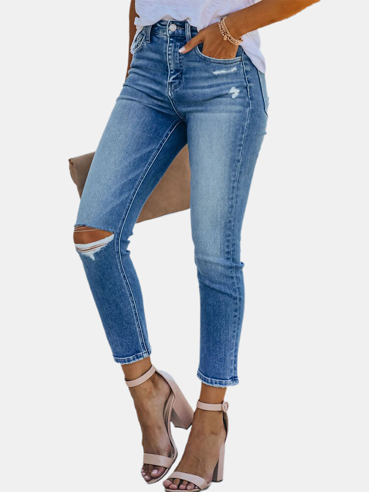 Solid Color Ripped Pockets Long Casual Denim for Women