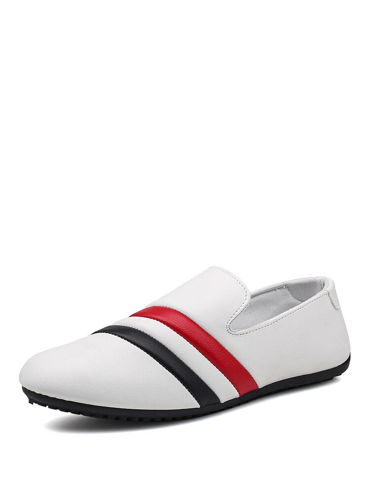 Men Comfy Lazy Slip-on Hard Wearing Striped Pattern Driving Shoes