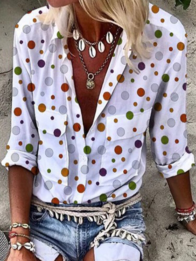 Polka Dot Printed Lapel Long Sleeve Button Blouse