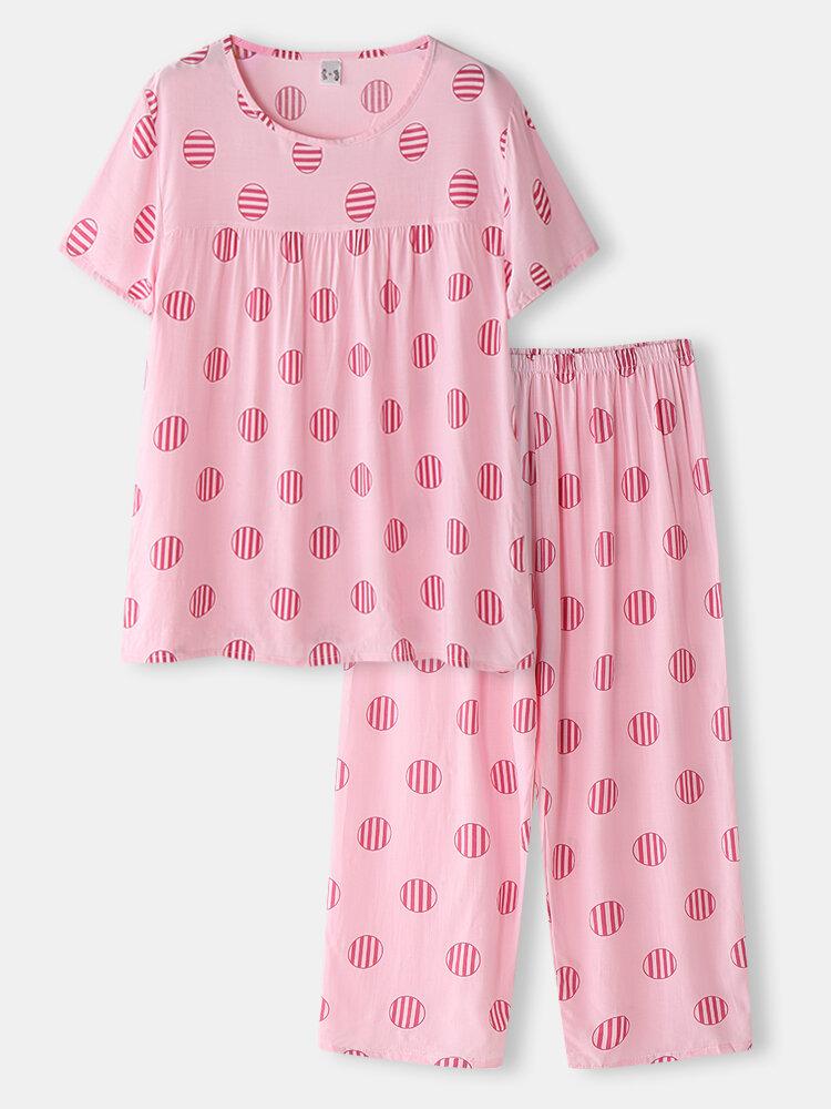 Большие размеры Женское Свободные домашние пижамные комплекты с короткими рукавами и круглым принтом в полоску