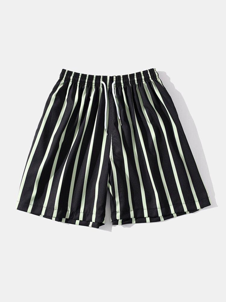 Men Green Striped Swim Shorts Casual Quick Drying Drawstring Beach Board Shorts