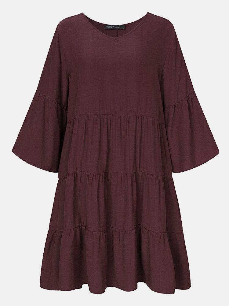 Solid Color V-neck Half Sleeve Patchwork Casual Dress For Women