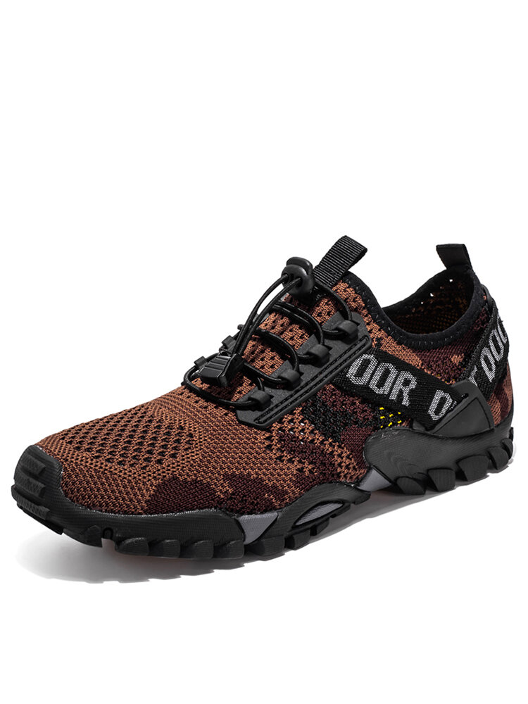 Men Knitted Fabric Camouflage Braethable Outdoor Hiking Shoes