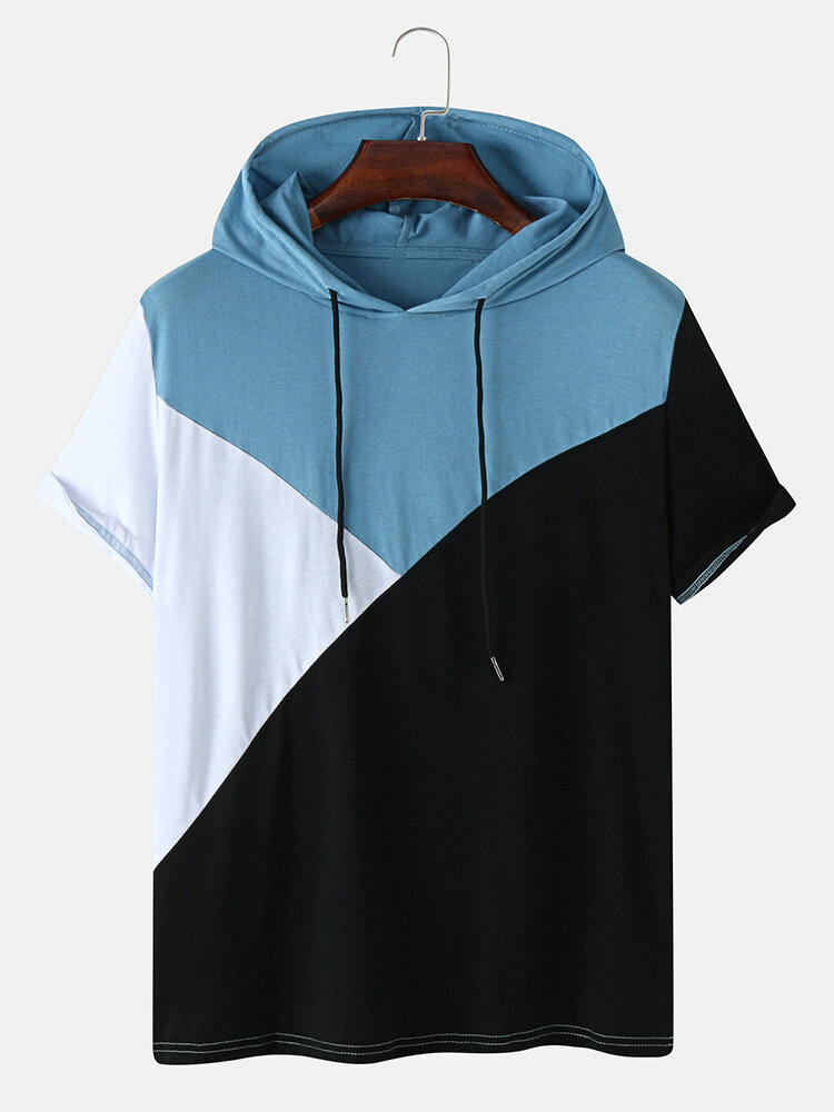 Mens Tricolor Patchwork Short Sleeve Casual Hooded T-Shirt