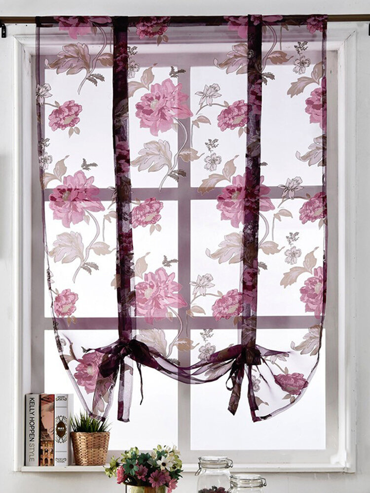 2pcs Big Flower Peony Voile Curtain Panel Window Room Divider Sheer Curtain Home Decor 140x140cm