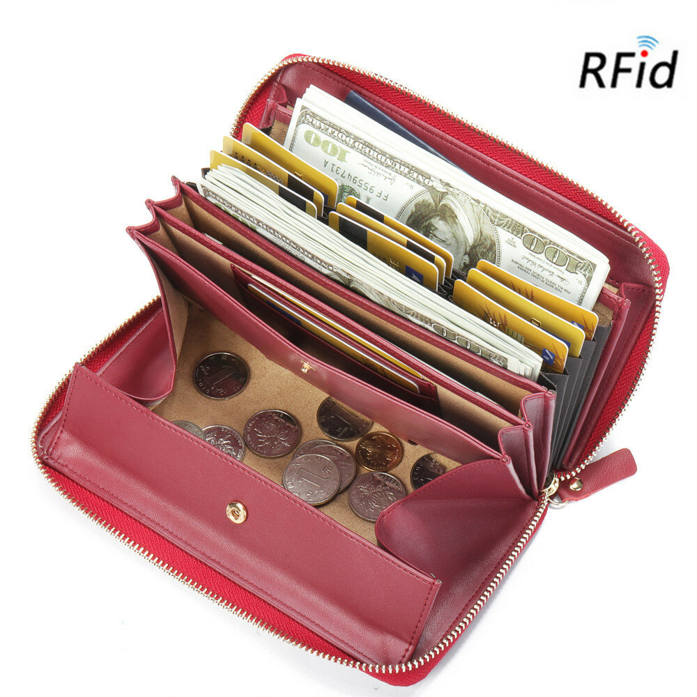 Hot-sale Brenice Brenice RFID Cowhide Zipper Long Wallets Large Capacity 11 Card Holder Coin Purse - NewChic