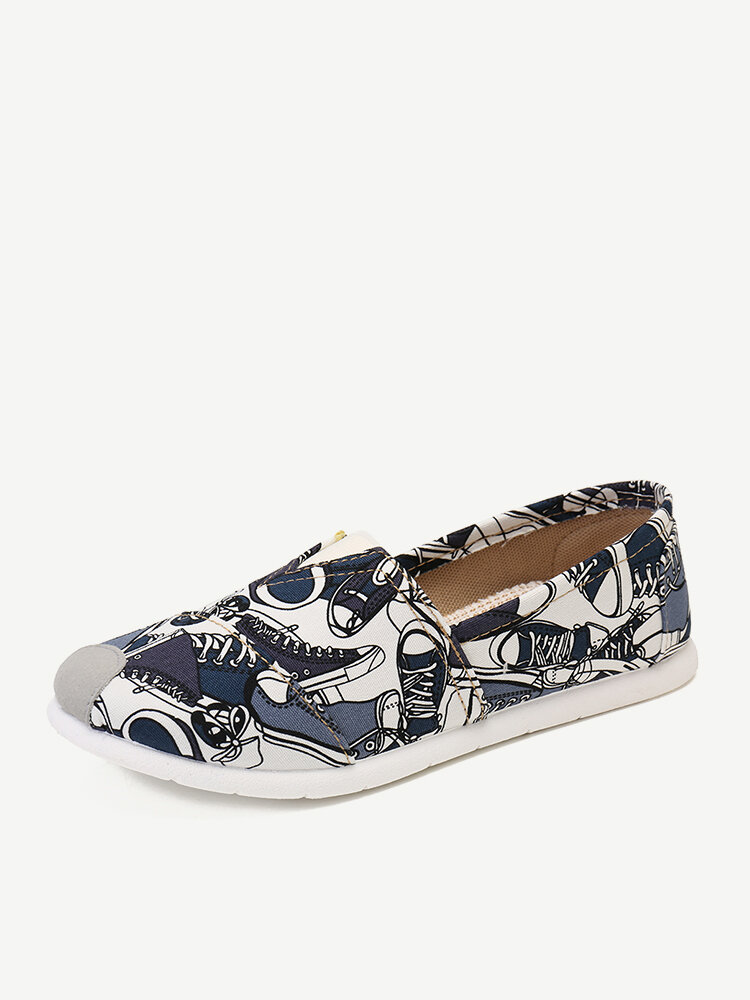 Women Cloth Pattern Slip On Casual Flat Shoes