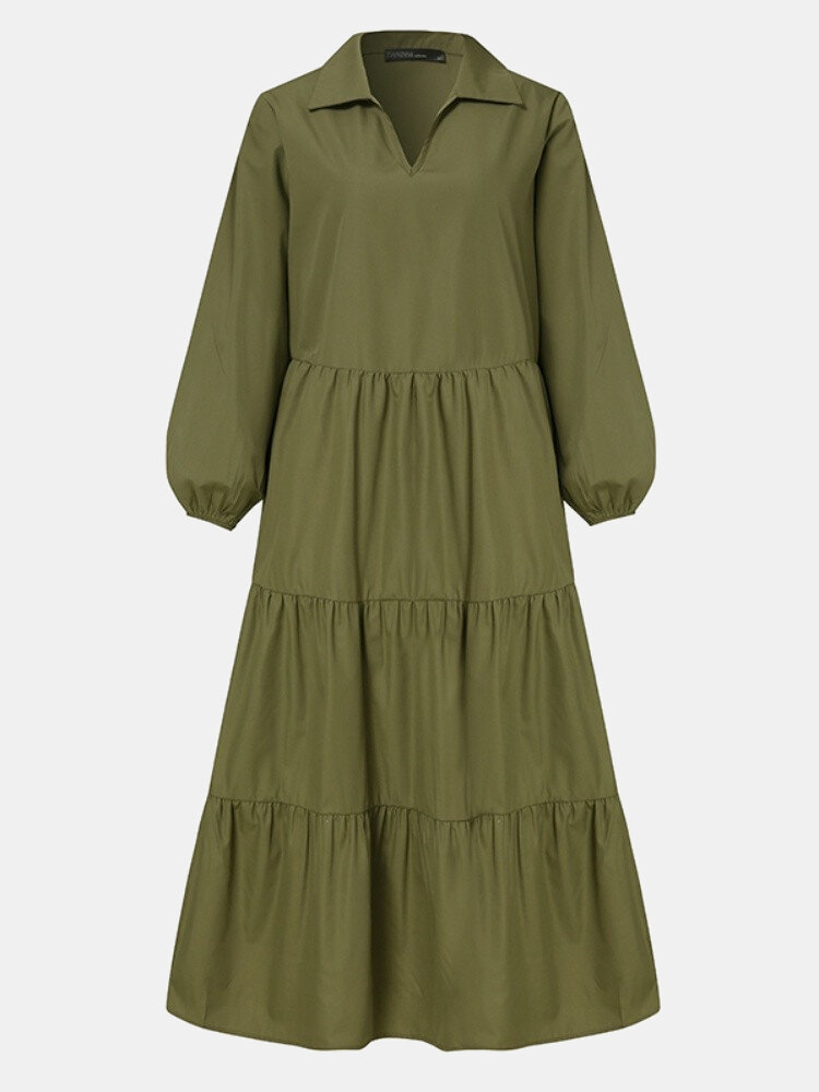 Solid Color Patchwork Pleated Long Sleeve Casual Dress for Women