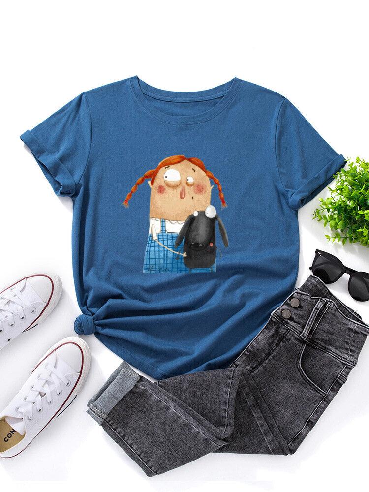 Cartoon Girl With Dog Print O-neck Short Sleeve T-shirt For Women