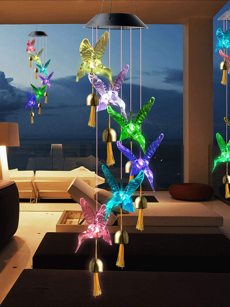 1PC LED Solar Power Hummingbird Wind Chime Bell Color Changing Night Light Lamp Home Garden Yard Decoration
