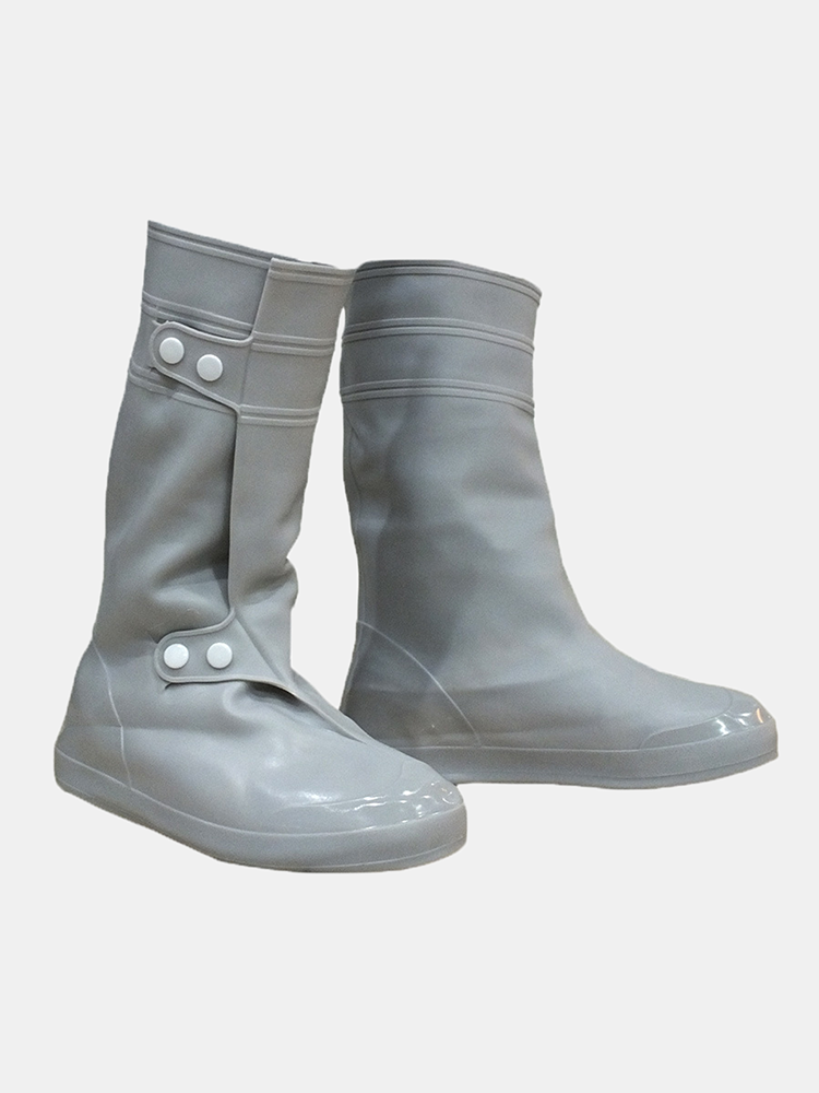 PVC Women Man Rain Shoes Cover Waterproof Slip-resistant Rain High Boots Flats