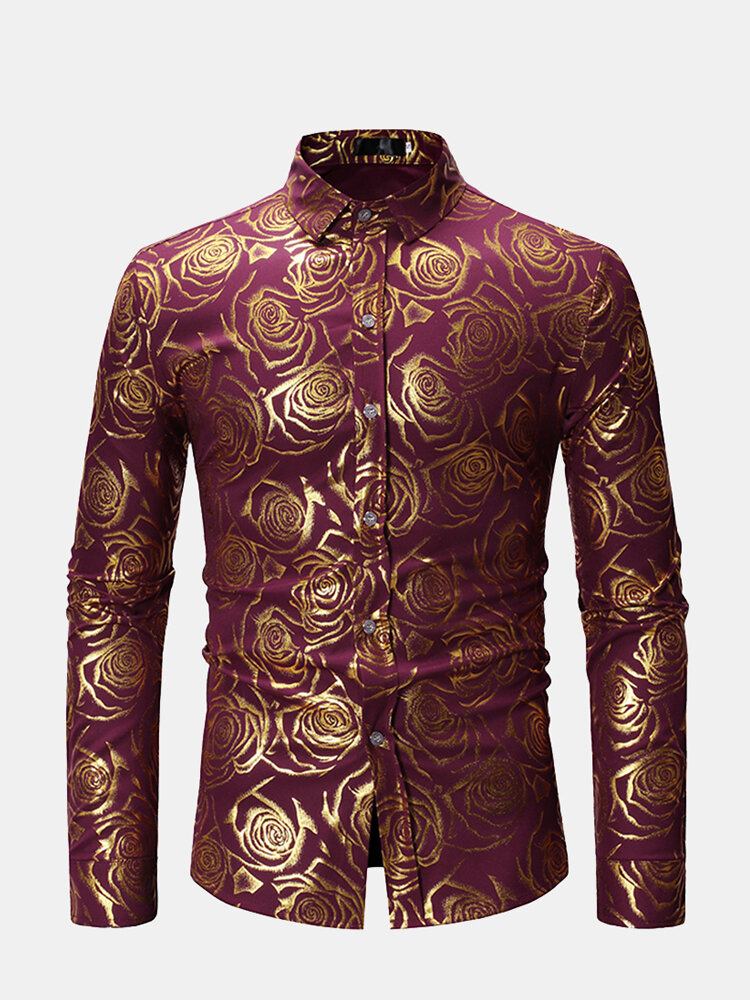 Mens Golden Rose Printing Long Sleeve Single-breasted Silm Fit Casual Dress Shirt
