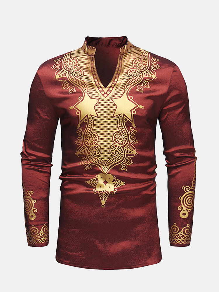 Mens African Style Printing Mid-long Long Sleeve Slim Fit Casual T shirt
