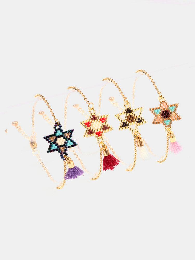Bohemian Beads Bracelet Geometric Hand-woven Hexagonal Star Tassel Pendant Bracelet Chic Jewelry