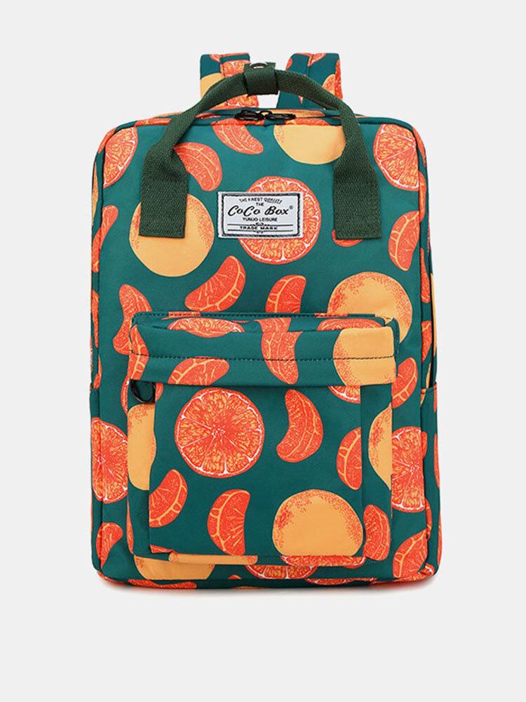 Women Waterproof Large Capacity Print Casual Backpack Drawstring pocket