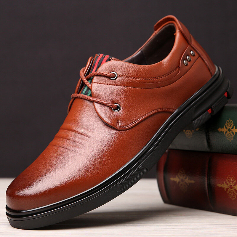 Men Vintage Round Toe Lace Up Business Casual Leather Shoes