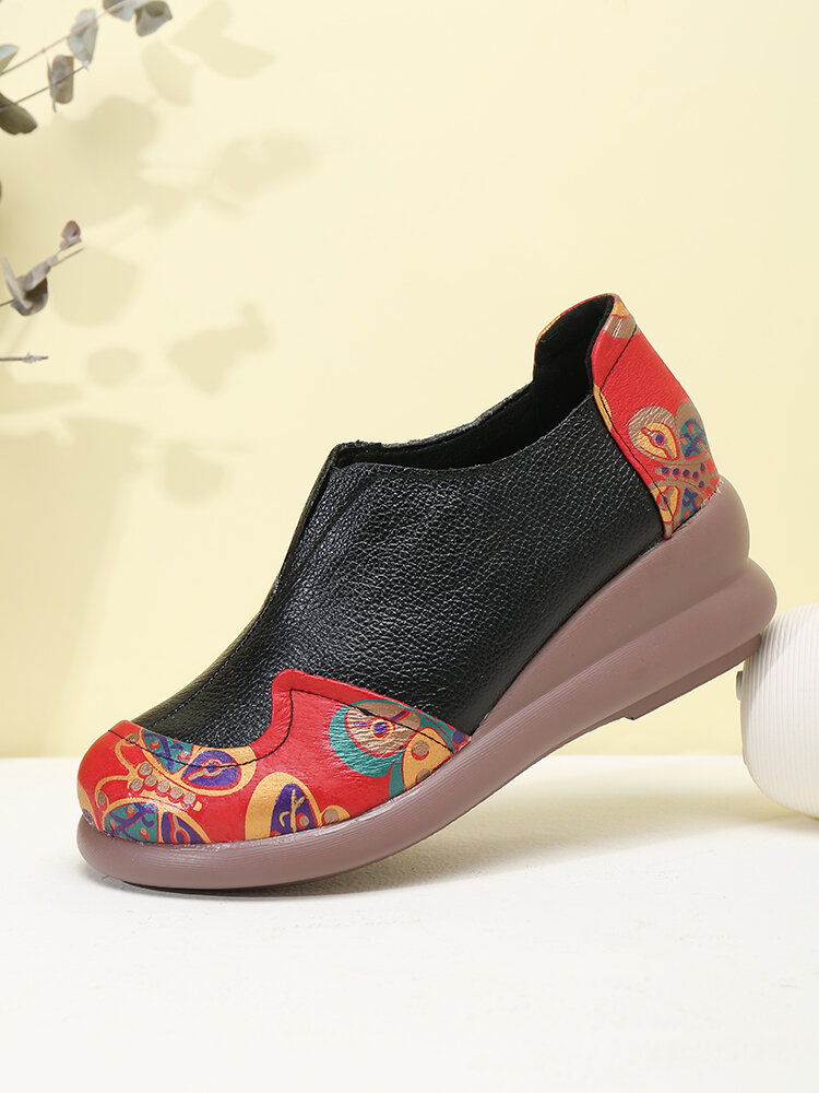 Round Toe Print Pattern Patchwork Soft Comfortable Flat Ankle Boots For Women