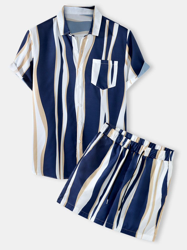 Mens Holiday Striped Chest Pocket Lapel Short Sleeve Drawstring Shorts Two Pieces Outfits