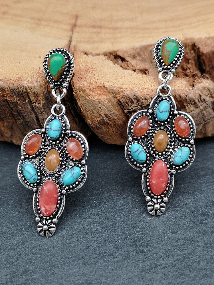 Vintage Flower-shape Alloy Agate Turquoise Mixed Color Gem Earrings