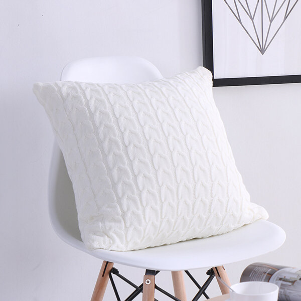 Cotton Knitted Cushion Cover Decorative Pillow Case Cable Pattern Throw Pillow Cover