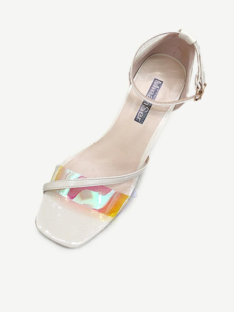 Women's Sandals Season New Fashion Transparent Face Stiletto Sandals Women's Wild High Heel Open Toe Sandals
