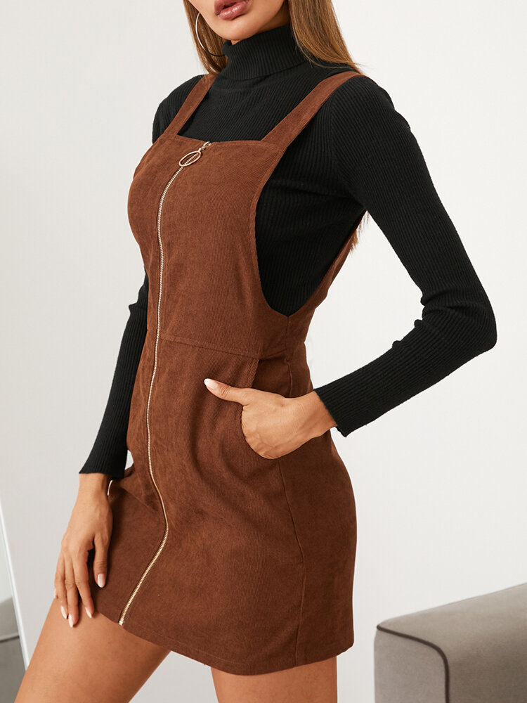 Solid Color Zip Front Casual Straps Mini Dress With Pocket