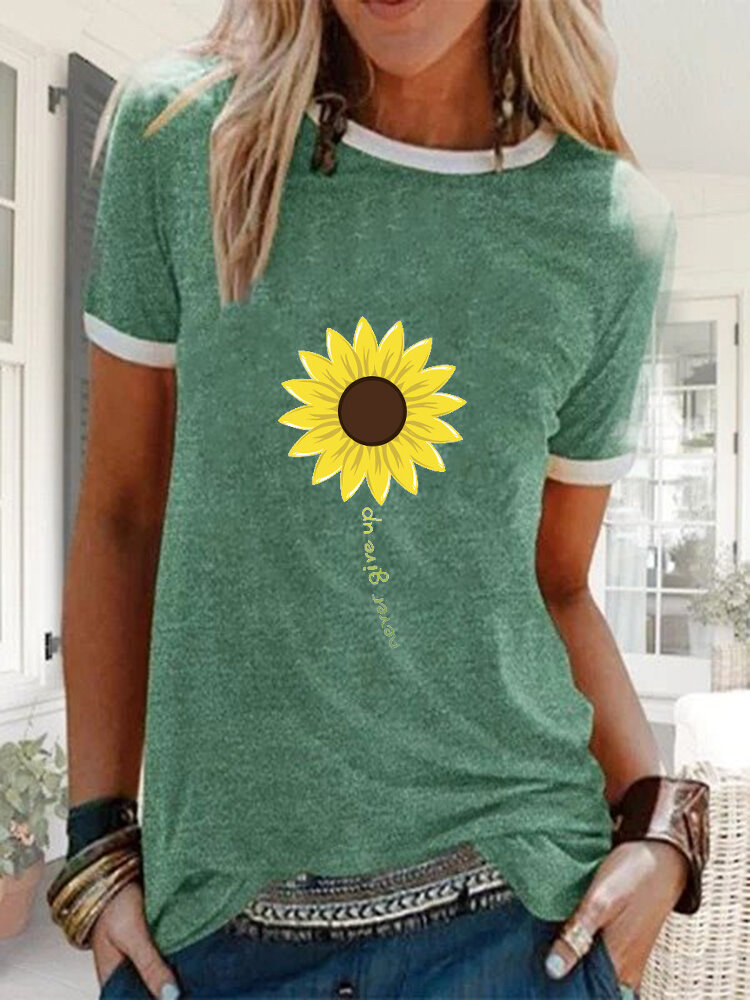 Sunflower Printed Casual Short Sleeve O-neck T-shirt