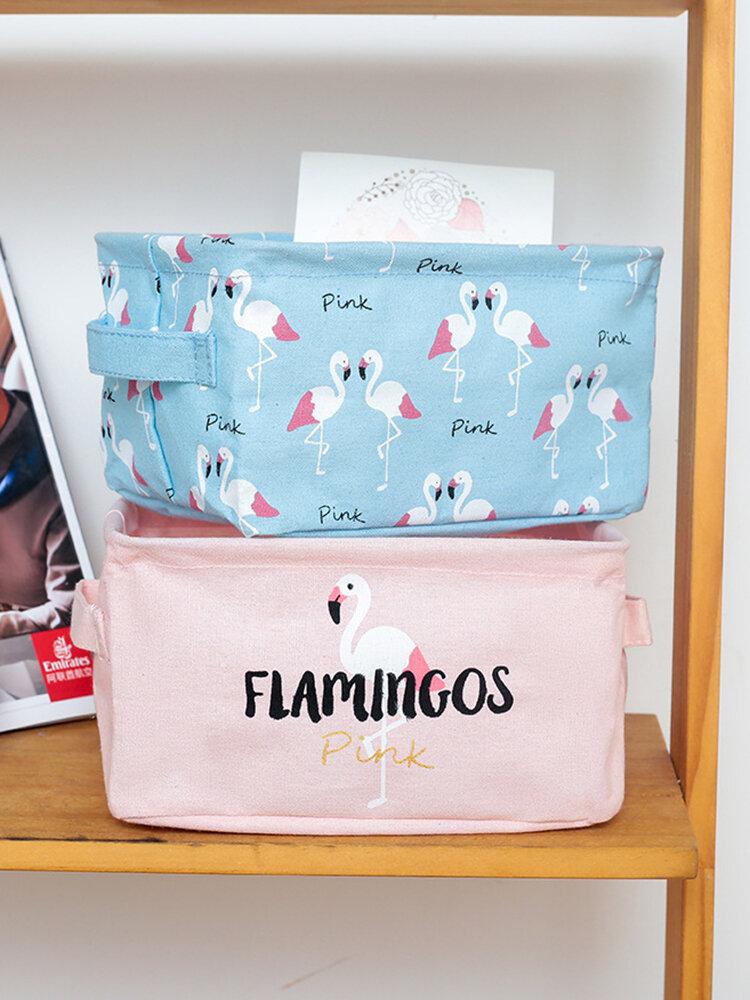 Faltbare Flamingo Series Desktop Aufbewahrungsbox aus Baumwollleinen