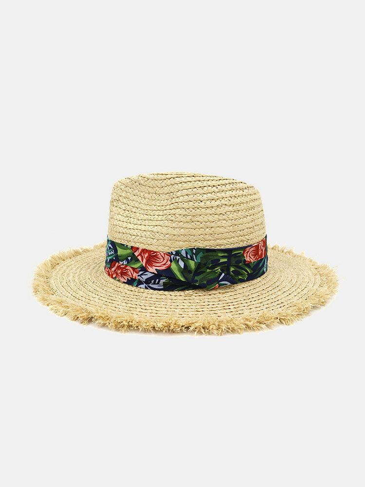 Women Printed Pattern Raffia Straw Hat Sunscreen Beach Hat