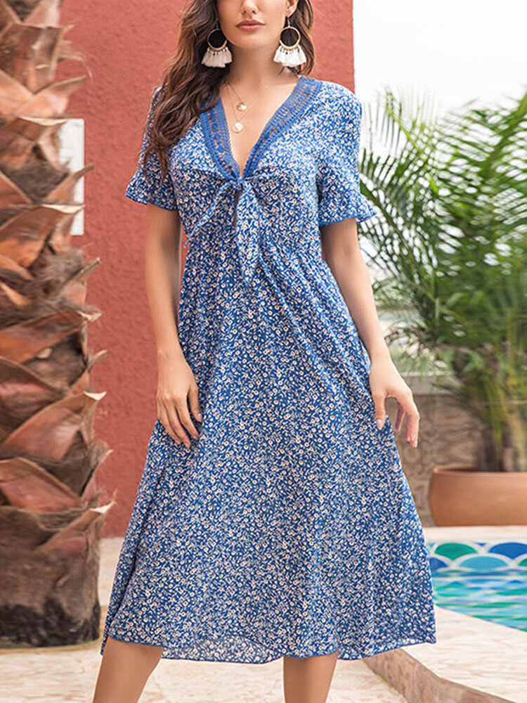 Summer Holiady Floral Print Lace Patchwork Knotted Women Dress