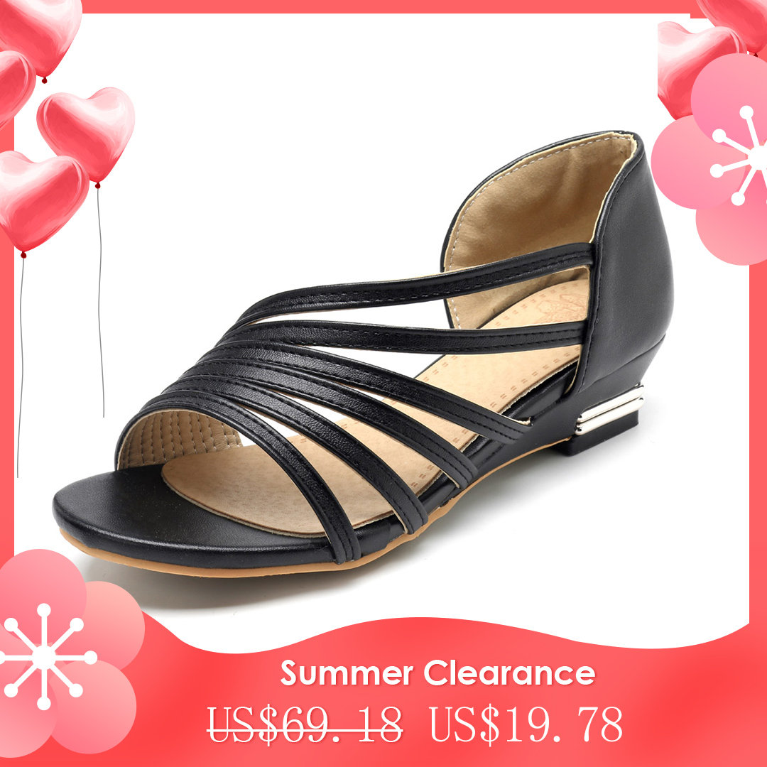 d9685bfb435 High-quality Large Size Peep Toe Slip On Hollow Wedge Sandals - NewChic