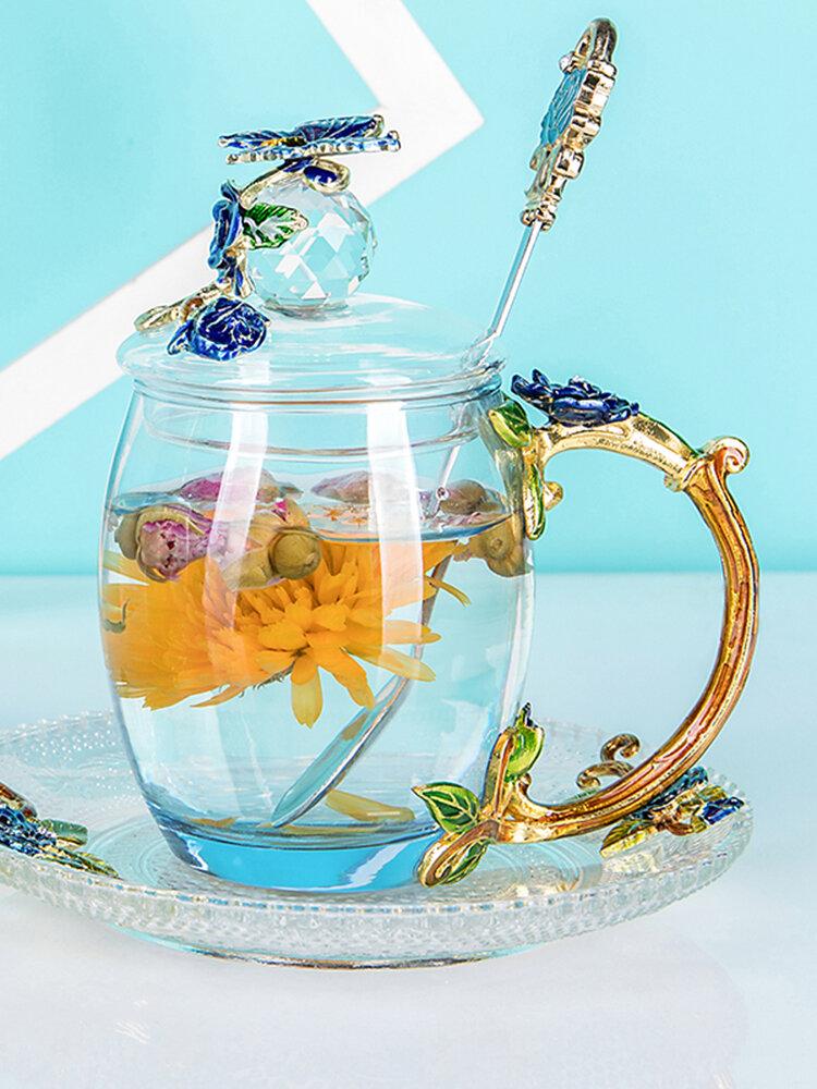 Эмалированная чашка Подарочная чашка Цветочная чашка Стеклянная эмалированная чайная кружка Кофейная чашка с ложкой