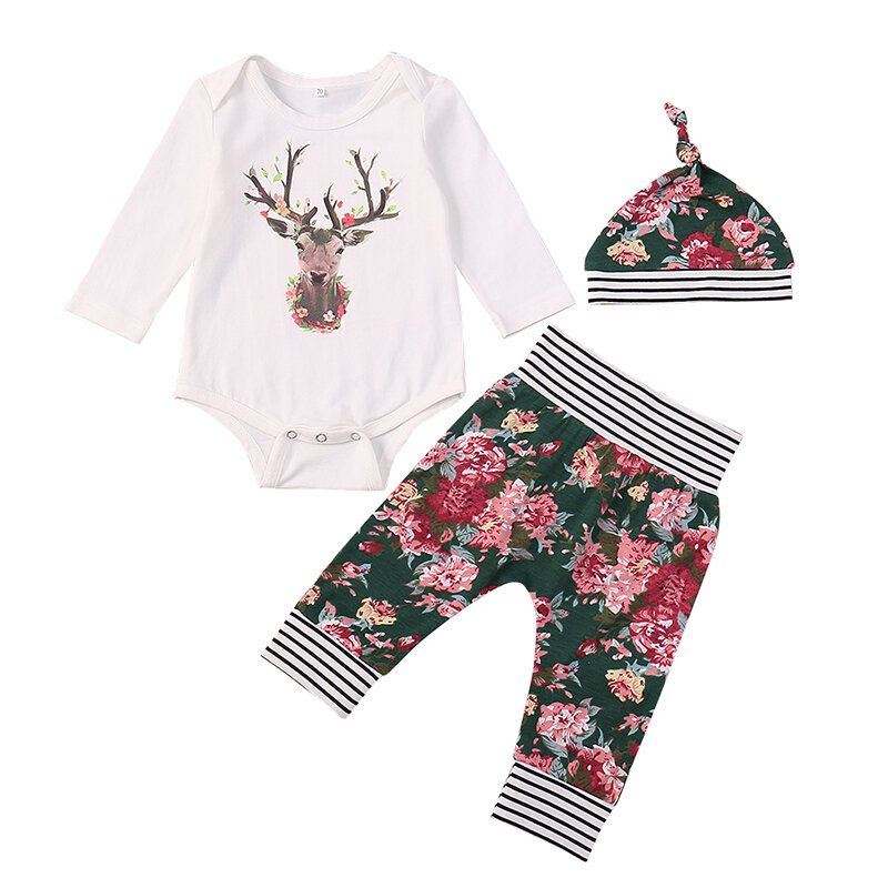 3Pcs Reindeer Christmas Floral Printed Pattern Baby Romper Clothing Set For 0-24M
